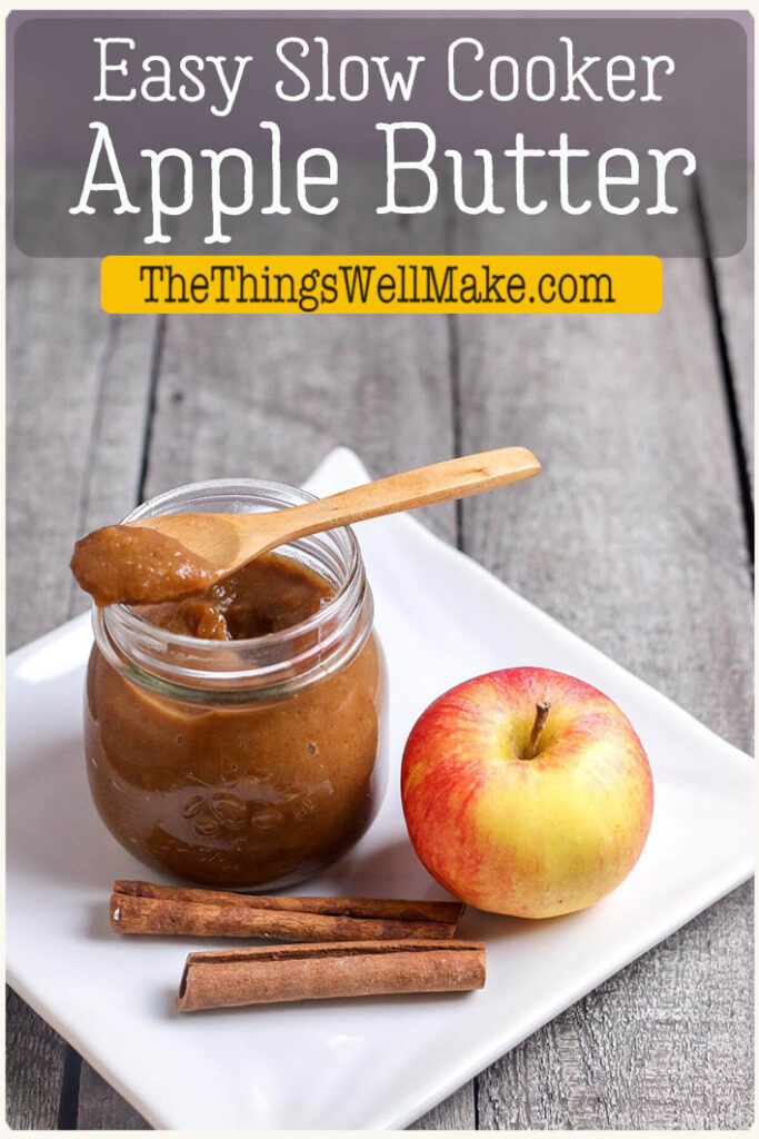 Sweet and tangy with a hint of fall spices, this slow cooker apple butter is simple to make and is very versatile. It can be used as a delicious spread, a dip, or even a cake filling. Learn how easy it is to make spiced apple butter in your slow cooker! Even better, it's refined sugar-free and paleo. #thethingswellmake #applebutter #applerecipes #fallrecipes #apples