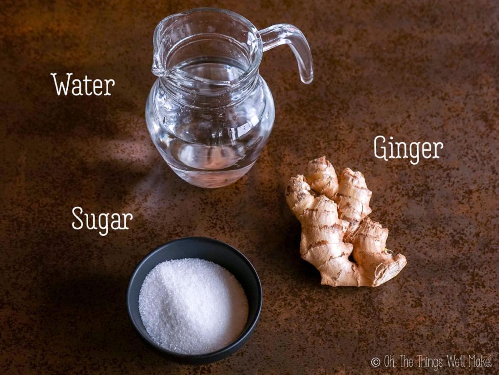 ingredients for a ginger bug (and ginger vinegar)
