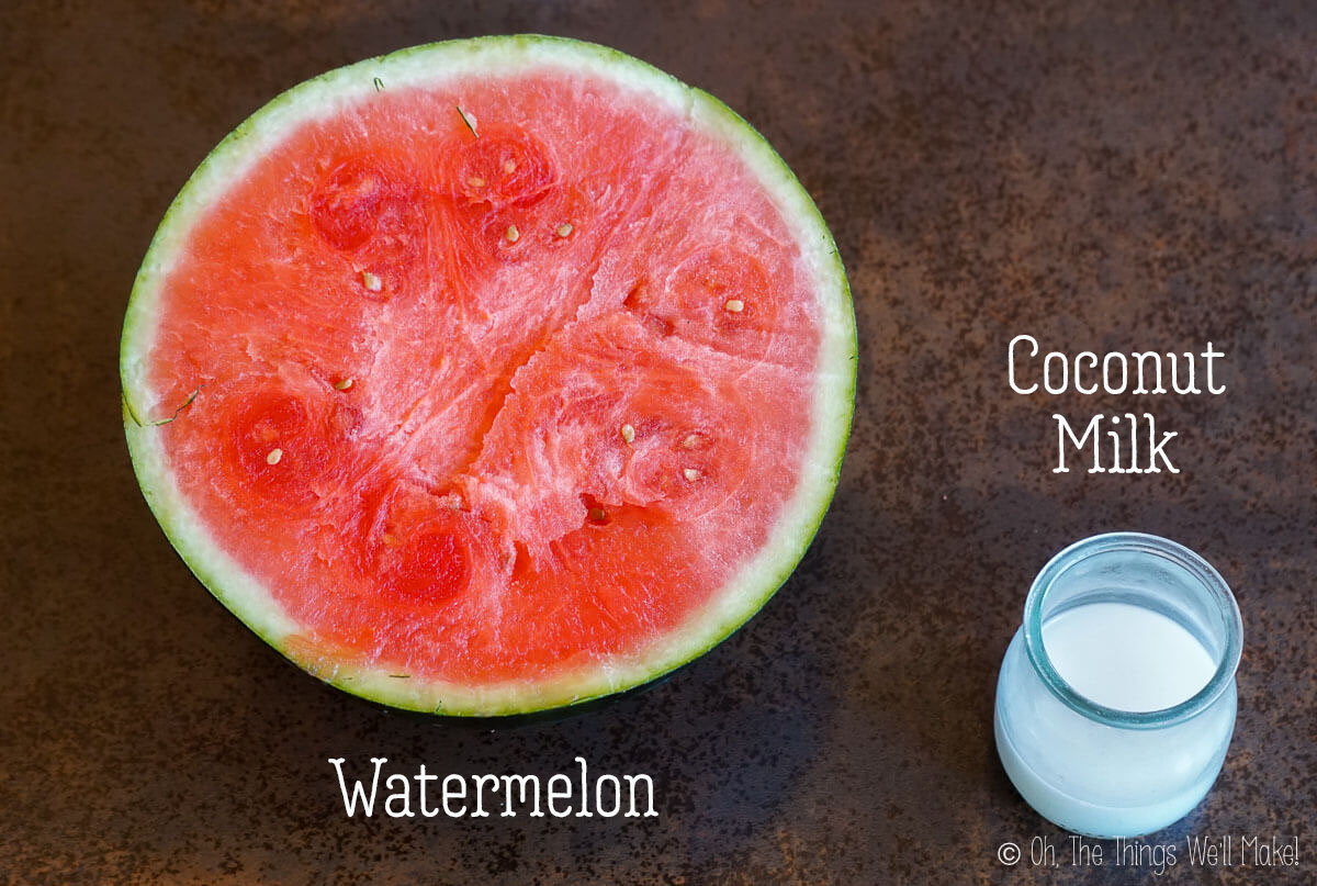 Overhead view of a watermelon and coconut milk
