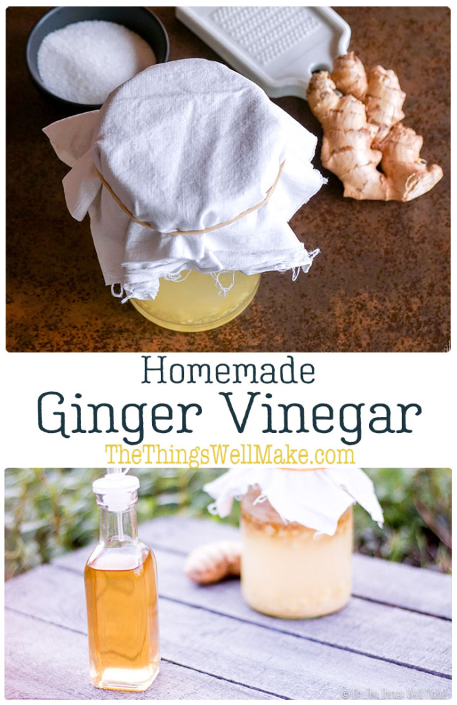 This easy ginger vinegar is mild and fragrant and is perfect for adding to salads and stir-fries. It's simple to make and is delicious. For those who are looking for a more palatable vinegar, give this ginger vinegar a try! #thethingswellmake #miy #recipe #gingervinegar