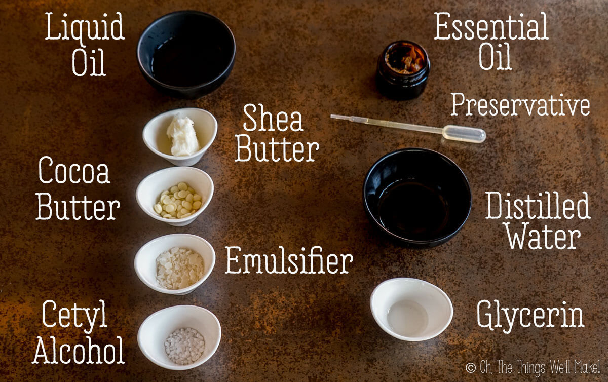 ingredients for an emulsified body butter